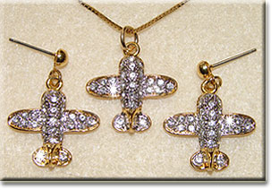 Small Gold Tone Crystal Airplane