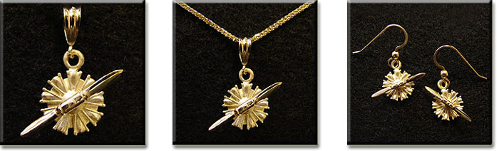 Radial Engine with 14KT Yellow Gold Prop (Small)