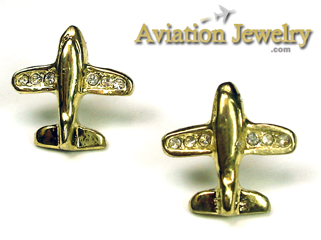 Airplane Gold Tone with 6 Crystals in Wing Tips
