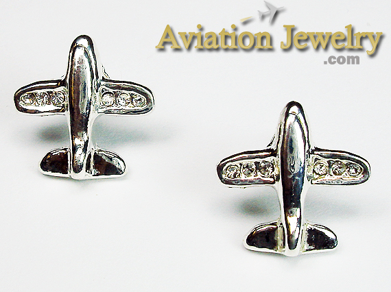 Airplane Silver Tone with 6 Crystals in Wing Tips