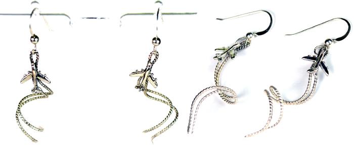 Mini Airplane Spiral Earrings- Twisty Sterling Silver
