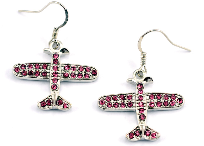 Small Airplane Pink Crystals Silver Tone