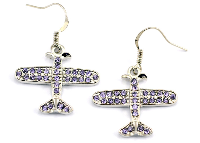 Small Airplane Light Purple Crystals Silver Tone