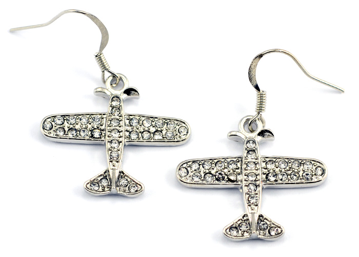 Small Airplane Clear Crystals Silver Tone