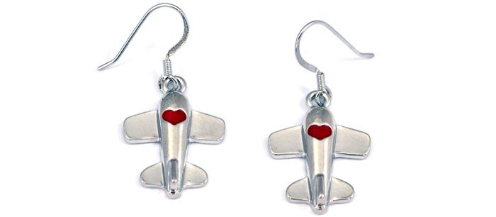 Airplane Heart Red Silver Tone