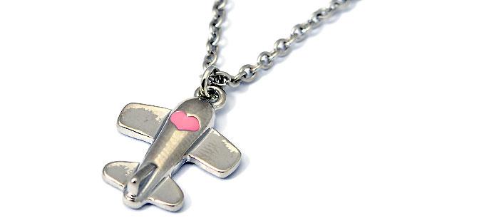 Airplane Heart Pink Salmon Silver Tone
