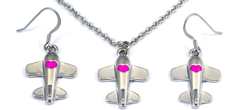 Airplane Heart Pink Fuchsia Silver Tone