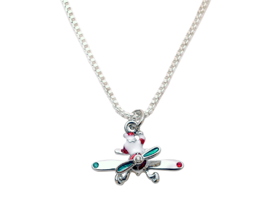Santa Claus Flying with Spinning Prop Silver Tone Necklace and Earrings