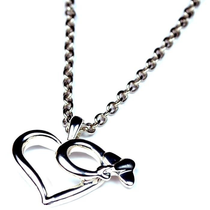 Heart Large Silver Plated Necklace