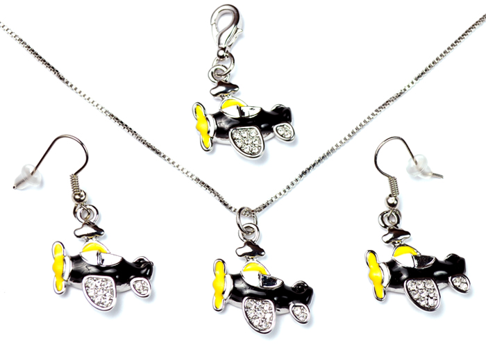 Airplane with Clear Crystals Black and Yellow