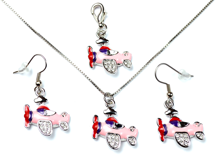 Airplane with Clear Crystals Pink Purple and Red