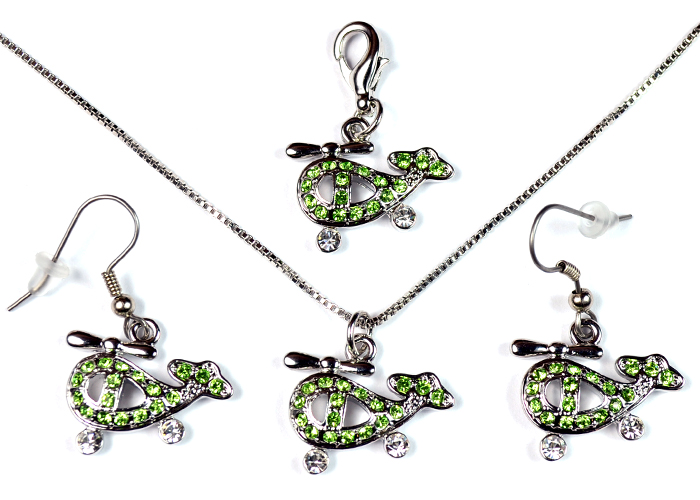 Helicopter Lime Green and Clear Stone Silver Tone