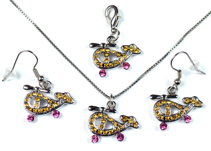 Helicopter Yellow and Pink Stone Silver Tone