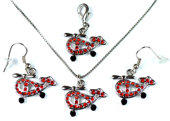 Helicopter Red and Black Stone Silver Tone