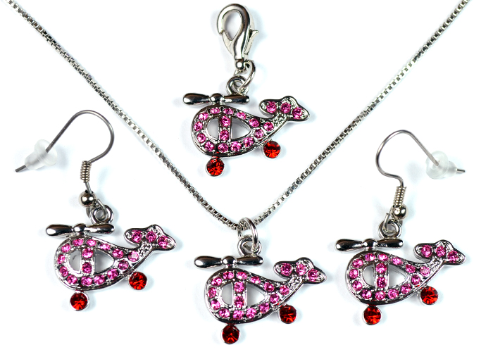 Helicopter Pink and Red Stone Silver Tone