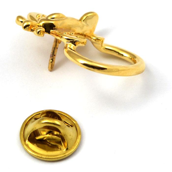 Airplane Eye Glass and ID Badge Holder Gold Tone Pin