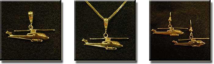 Bell AH-1, Huey Cobra, Sea Cobra, or Super Cobra :: 14K Gold