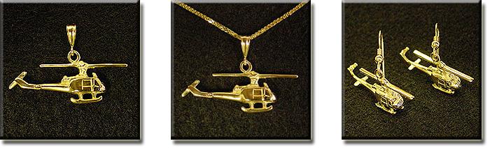 Bell 204 Huey UH-1 3D : 14K Gold