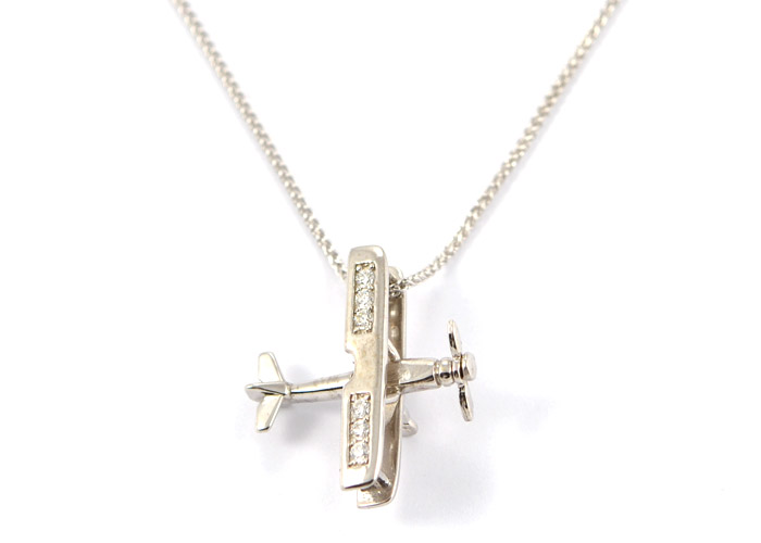 Bi-Plane in 14kt White Gold with 6 Stunning Diamonds with Spinning Prop
