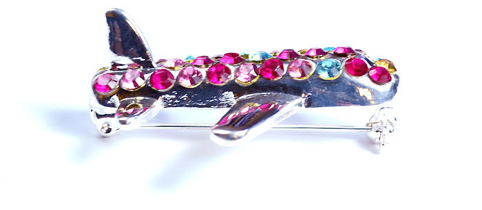 Airplane with Purple, Pink, Yellow, and Blue Crystals Silver Tone Brooch Pin