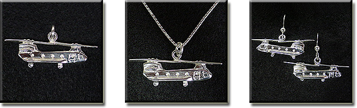 Boeing Model 234, CH-47 Chinook (Small) : Sterling Silver