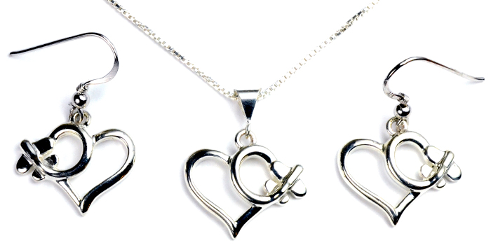 Low Wing Heart : Sterling Silver