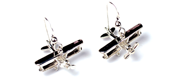 Bi-Plane Spinning Prop Shiny Top View : Sterling Silver
