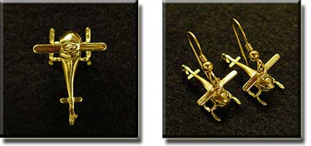 3D Helicopter Top View : Sterling Silver