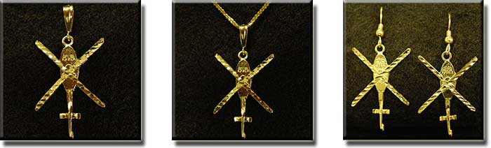 X-Top View Helicopter : Sterling Silver