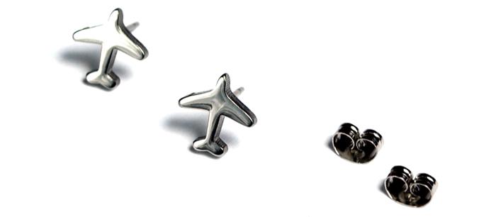 Airplane Mini Silver Tone