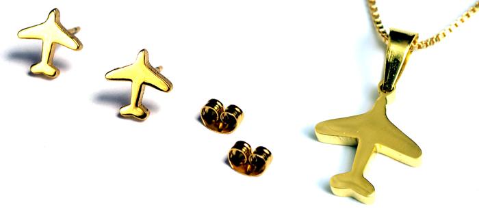 Airplane Mini Gold Tone