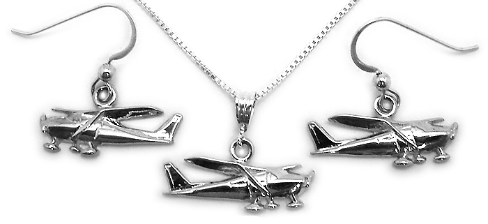 Cessna 172-182 Side View : Sterling Silver