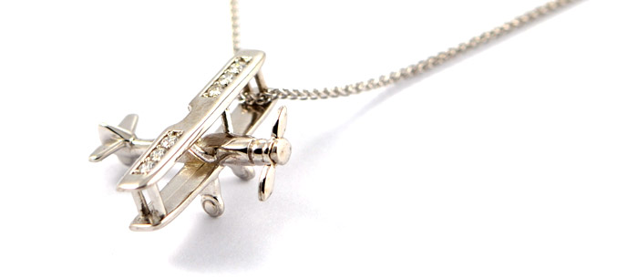 Bi-Plane Sterling Silver with 6 Stunning Cubic Zirconias CZ with Spinning Prop