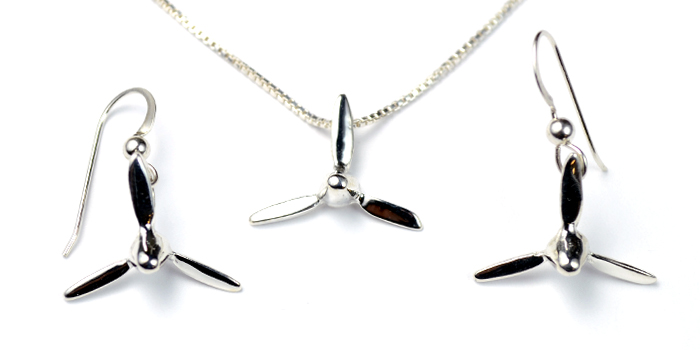 3 Bladed Prop : Sterling Silver